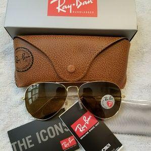 Ray Ban Aviator Sunglasses Polarized Gold NEW